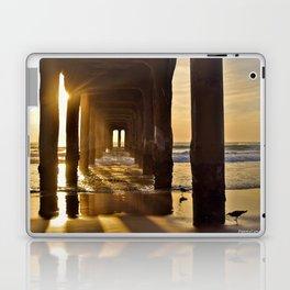 Winter sunset at Manhattan Beach pier Laptop & iPad Skin
