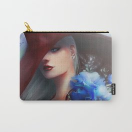 Kissed by the light - Blonde girl with hat and blue flowers Carry-All Pouch
