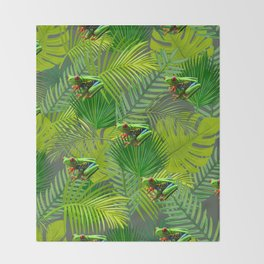 Frog Forest Throw Blanket