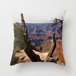 Grand Canyon View Through Dead Tree Throw Pillow