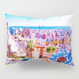 Park Guell Watercolor painting Pillow Sham
