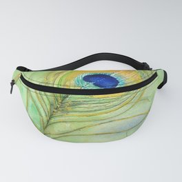 Abstract Peacock Feather Watercolor Fanny Pack