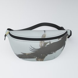 Battle for the Cedars - Bald Eagles Wildlife Scene Fanny Pack