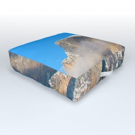 Day Moon over  Cloud Wrapped Half Dome Outdoor Floor Cushion