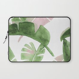 Tropical Leaves Green And Pink Laptop Sleeve