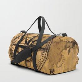 Destinations - Compass Rose and World Map Duffle Bag
