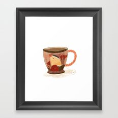Goldfinch Teacup Framed Art Print