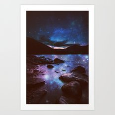 Magical Mountain Lake Deep Cool Tone Art Print