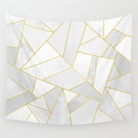 laptop Wall Tapestries featuring White Stone by Elisabeth Fredriksson