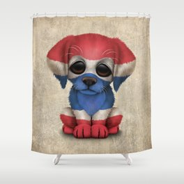 Cute Puppy Dog with flag of Thailand Shower Curtain