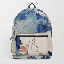 Traditional Japanese fine ukiyo-e style illustration. Mount Fuji, Japan. Backpack