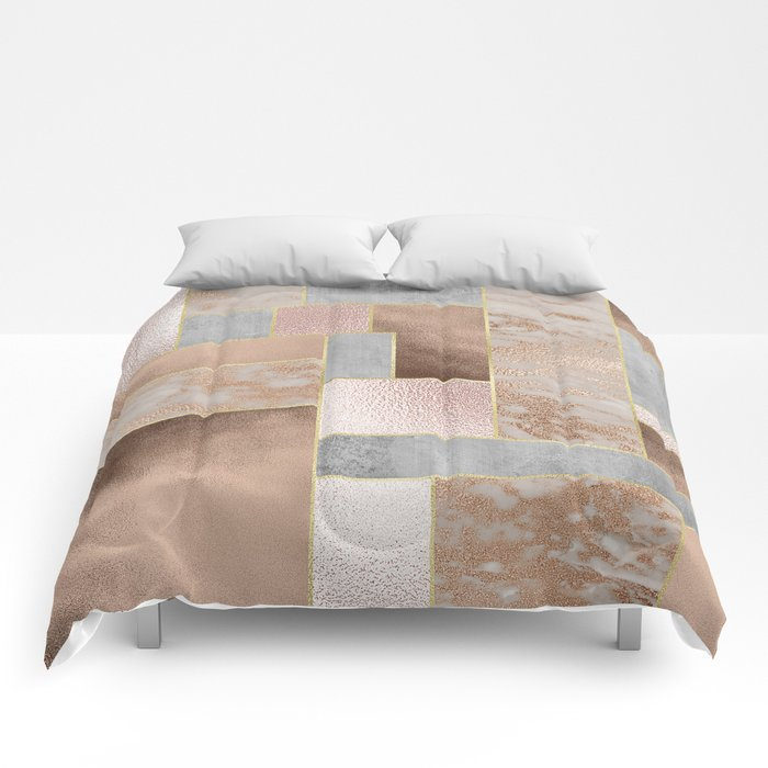 Copper And Blush Rose Gold Marble Quadrangle Geometrical Shapes - Geometrical-shapes-on-bedding