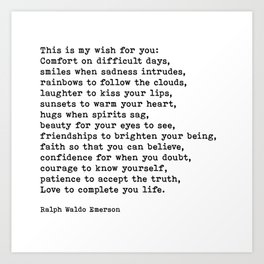 My Wish For You, Ralph Waldo Emerson, Quote Art Print