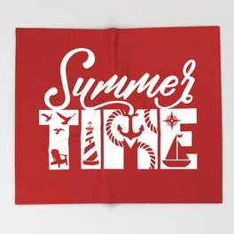 Summer TIME Nautical Solid Red, Seagull, Lounge Chair, Lighthouse, Anchor, Rope, Compass, Sail Boat Throw Blanket