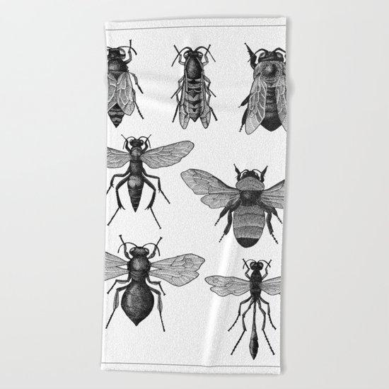 Bees and Wasp Beach Towel