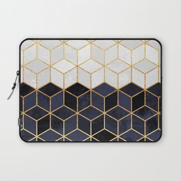 White & Navy Cubes Laptop Sleeve