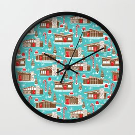 Mid Century Modern Gingerbread Houses Wall Clock
