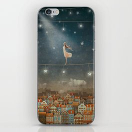 Illustration of  cute houses and  pretty girl   in night sky iPhone Skin