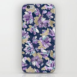 Amethyst Crystal Clusters / Violet, Blue and Gold iPhone Skin
