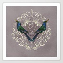 Endurance Crystal Grid in Mauve Art Print
