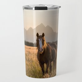Horses Grazing Below the Tetons Travel Mug