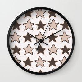 Winter Rustic Stars Lino Cut Sketchy Wall Clock