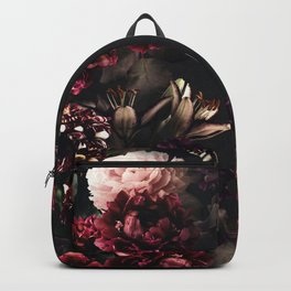 Vintage bouquets of garden flowers. Roses, dark red and pink peony.  Backpack