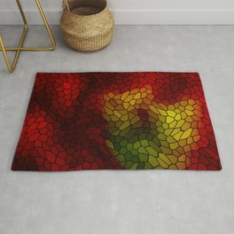 Volumetric texture of pieces of red glass with a dark mysterious mosaic. Rug
