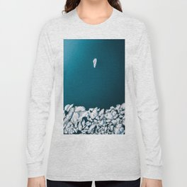 Minimalist Ice Bergs in the blue Ocean - Aerial Photography Long Sleeve T-shirt