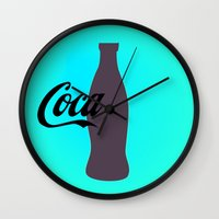 coca cola Wall Clocks featuring Coca cola by Mary Stephenson