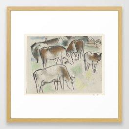 Enkele koeien in een landschap, Leo Gestel, 1891 - 1941 Framed Art Print