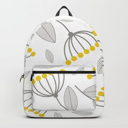 Flowers In Yellow And Grey Backpack
