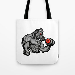 a strong angry bull with a barbell Tote Bag
