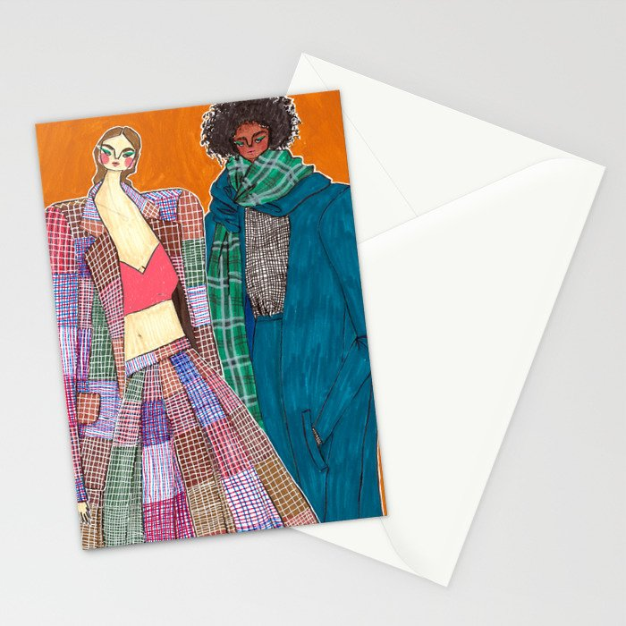 Rosie Assoulin Girls No. 1 – Original Fashion art, Fashion Illustration, Fashion wall art Stationery Cards