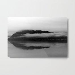 Black and White Alaska Photography, Enchanted Isle Metal Print