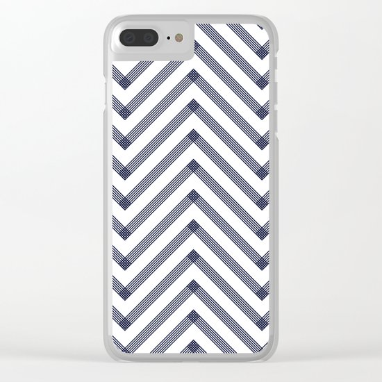 Marine Chevron Zigag pattern - dark blue on white on #Society6 Clear iPhone Case