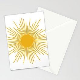Mid Century Modern Sunburst Sun in Mustard and White Stationery Cards
