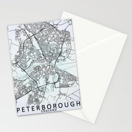 Peterborough, England, White, City, Map Stationery Cards