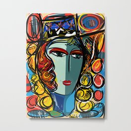 Portrait of a Girl with Hat French Pop Art Expressionism Metal Print