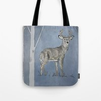 stag Tote Bags featuring Stag  by Leanna Rosengren