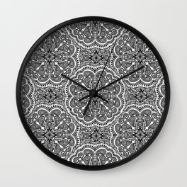 BLACK AND WHITE MANDALAS Wall Clock