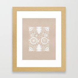 Bike and Flowers // Hand drawn Folk Art // White Paint Framed Art Print