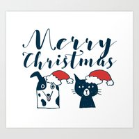 Cute Santa Dog & Cat Illustration Art Print
