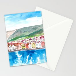 Bergen Bryggen Waterfront in Norwegian Sunshine Stationery Cards