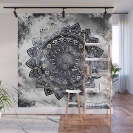 Galaxy Space Mandala (Black and White & Gray Scale) Mystical Adventurous Wall Mural