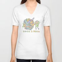 katamari V-neck T-shirts featuring Katamari Rock & Roll by vonplatypus