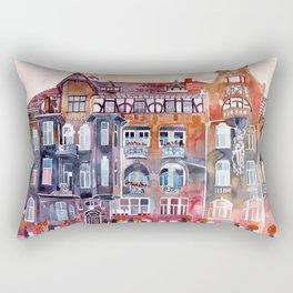 Apartment House in Poznan and orange umbrellas Rectangular Pillow
