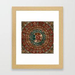 Hunab Ku Gold Red and Teal Framed Art Print