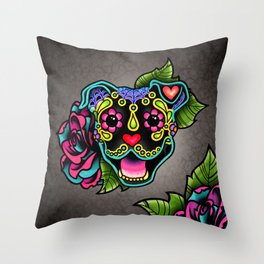 Smiling Pit Bull in Black - Day of the Dead Pitbull Sugar Skull Throw Pillow