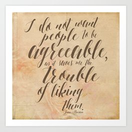 Jane Austen Quote Design - Agreeable Art Print